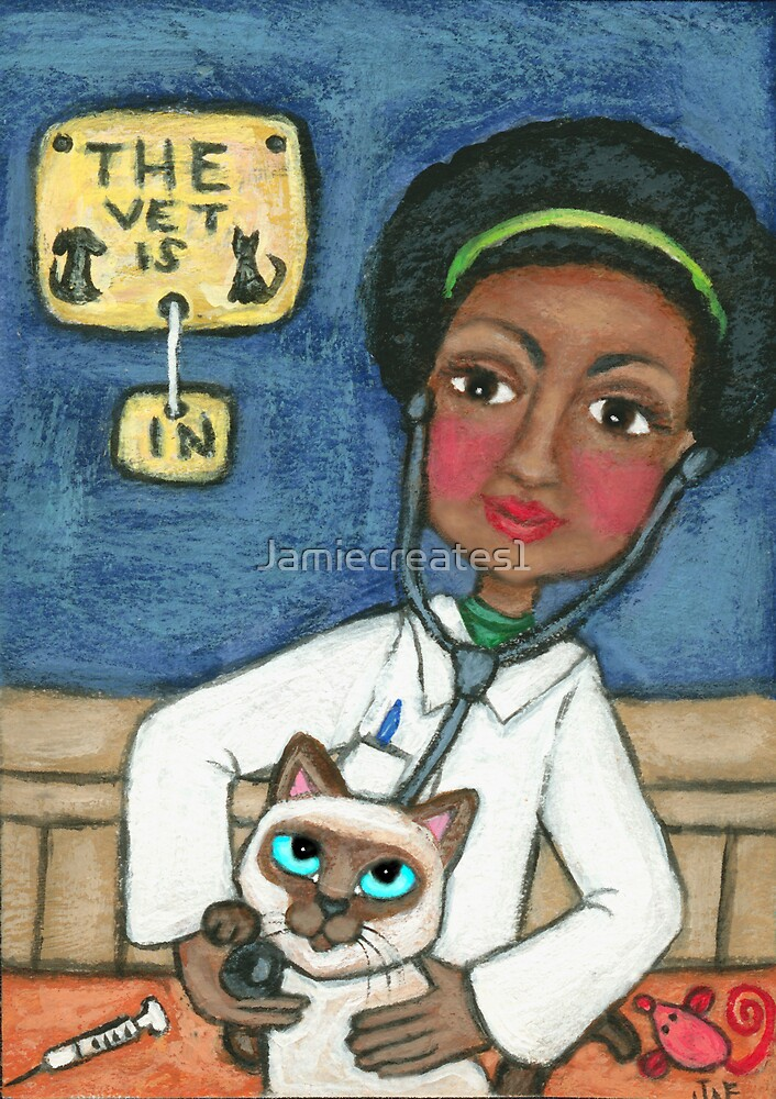 Vets With Pets Series:  Siamese Cat Visit's The Vet by Jamie Wogan Edwards