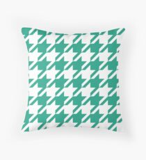 Green Sea Houndstooth Pattern Throw Pillow