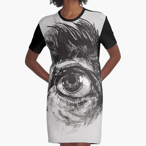 Hairy eyeball is watching you - warm gray Graphic T-Shirt Dress