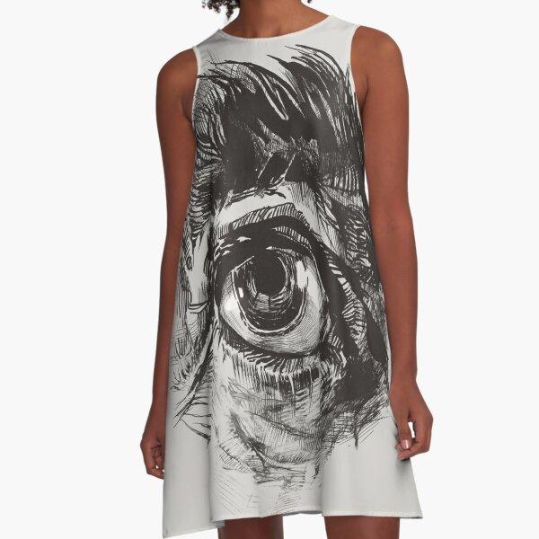 Hairy eyeball is watching you - warm grau A-Linien Kleid