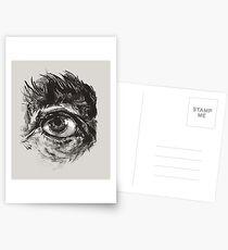Hairy eyeball is watching you - warm grau Postkarten