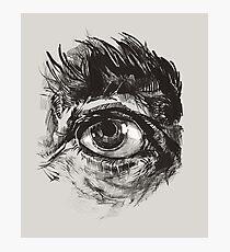 Hairy eyeball is watching you - warm grau Fotodruck