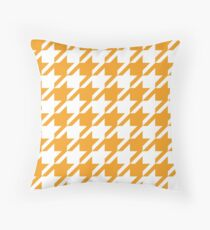 Orange Houndstooth Pattern Throw Pillow