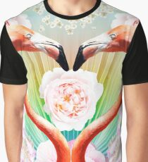 Heart shaped Flamingos and roses Graphic T-Shirt