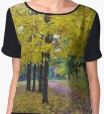Autumn landscape, oil paintings, fine art Women's Chiffon Top