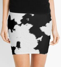 Realistic Black and White Cow Hide Pattern Mini Skirt