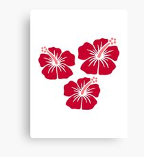 Red hibiscus flowers Canvas Print