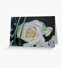 Cream Rose on Brown Background Greeting Card