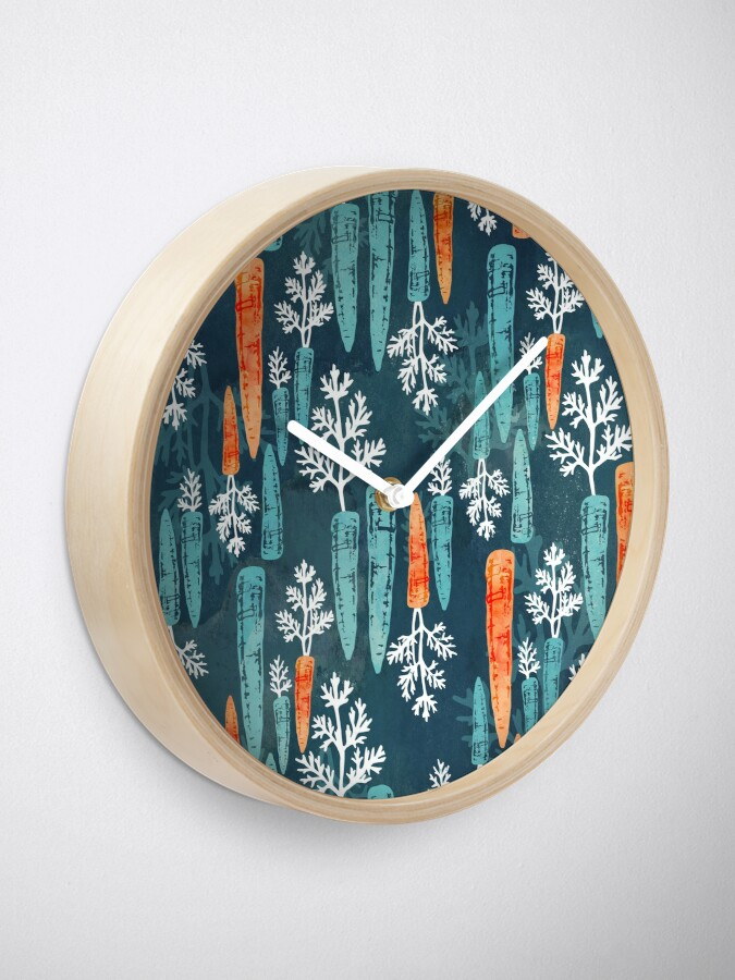 Alternate view of Watercolor carrot repeat Clock