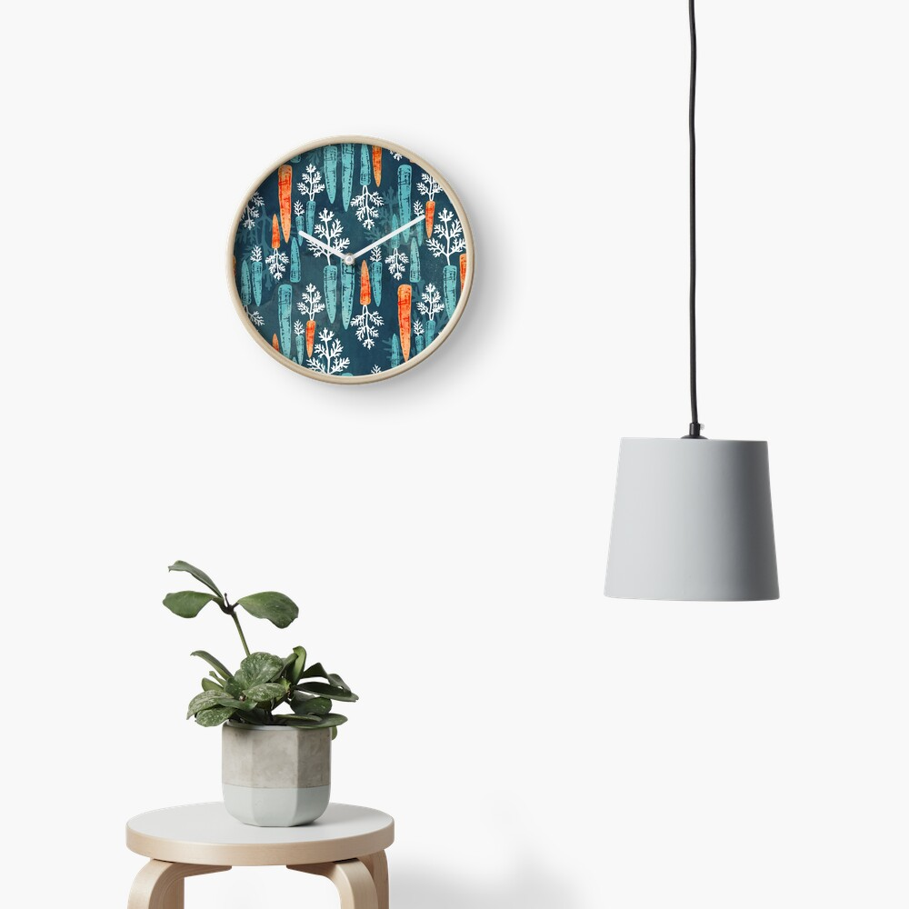Watercolor carrot repeat Clock