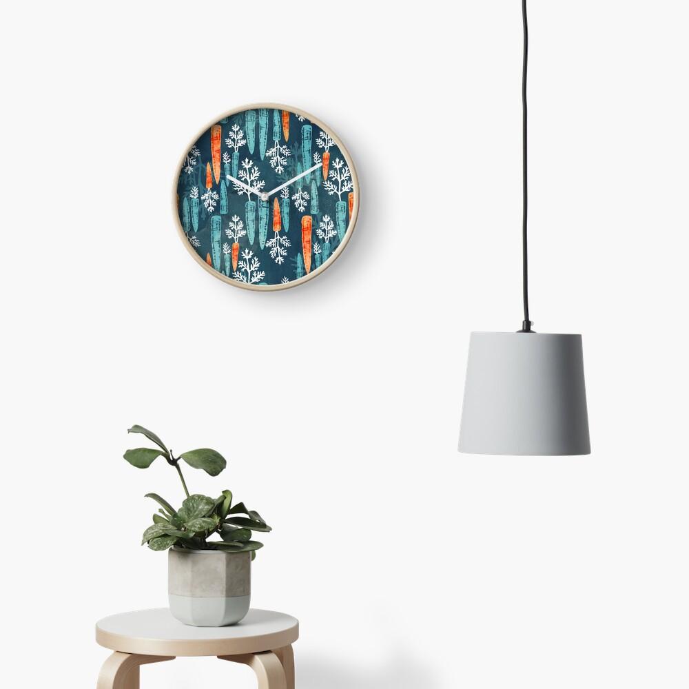 Watercolor carrot repeat Clock