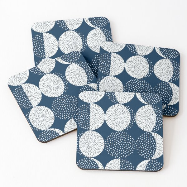 Moon Phases / repeat pattern Coasters (Set of 4)