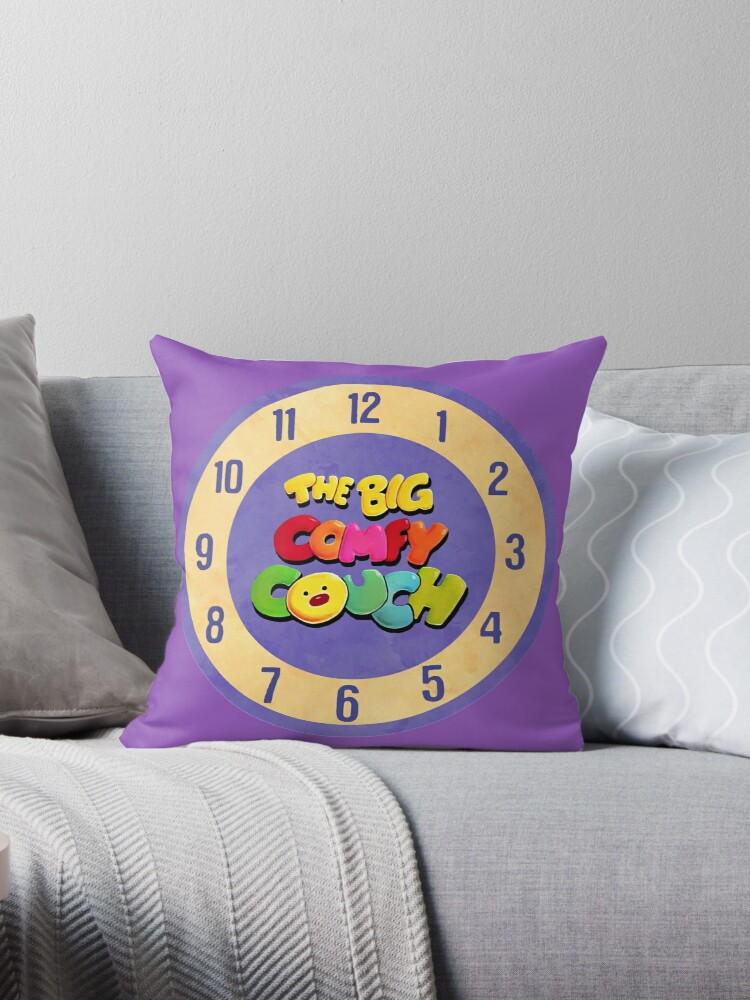Quot The Big Comfy Couch Clock Quot Throw Pillows By Birchandbark