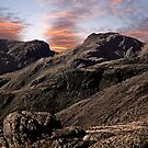 Sunset behind Scafell and Scafell Pike in the English Lake District by Martin Lawrence