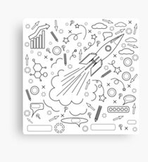 Rocket Icon Isolated on White Background. Concept of Success, Start Up, Initiatives, Team Work. Lines Design Canvas Print
