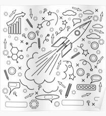 Rocket Icon Isolated on White Background. Concept of Success, Start Up, Initiatives, Team Work. Lines Design Poster