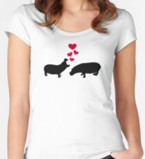 Hippo red hearts love Women's Fitted Scoop T-Shirt