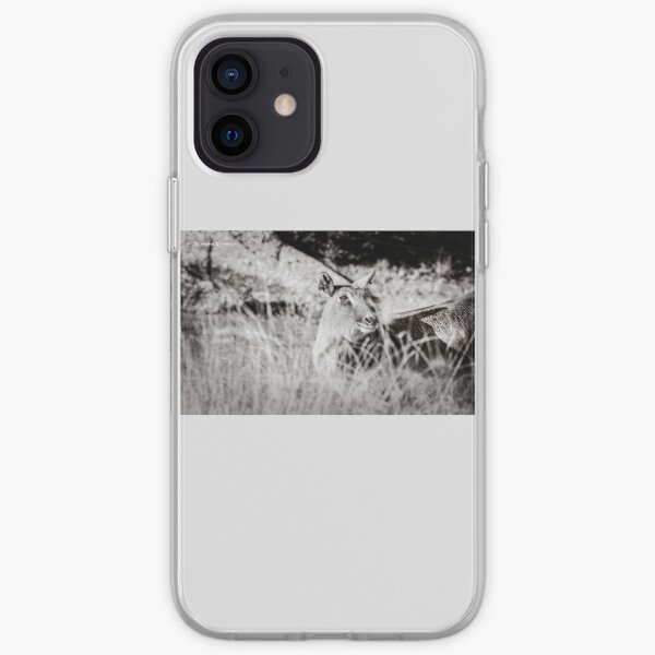 black and white portrait of an innocent doe iPhone Soft Case