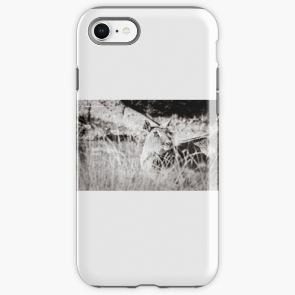 black and white portrait of an innocent doe iPhone Tough Case