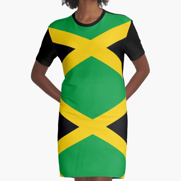JAMAICA. JAMAICAN. Flag of Jamaica, FULL COVER, Jamaican Flag, Caribbean, Island, Pure & Simple. Graphic T-Shirt Dress