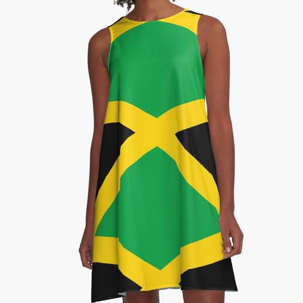 JAMAICA. JAMAICAN. Flag of Jamaica, FULL COVER, Jamaican Flag, Caribbean, Island, Pure & Simple. A-Line Dress