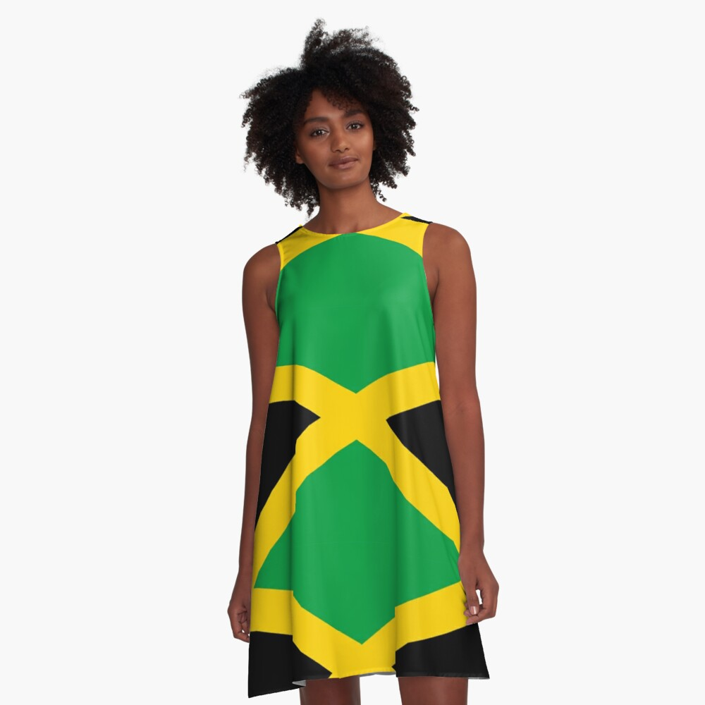 JAMAICA, JAMAICAN, Flag of Jamaica, FULL COVER, Jamaican Flag, Caribbean, Island, Pure & Simple A-Line Dress