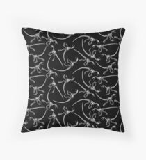 Raptor Skeleton Pattern - White/Black Throw Pillow