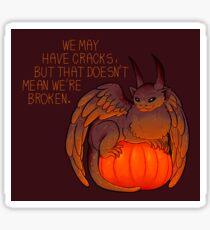 """""""We May Have Cracks"""" Pumpkin Gargoyle Sticker"""