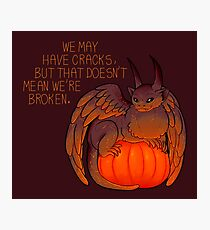 """We May Have Cracks"" Pumpkin Gargoyle Photographic Print"