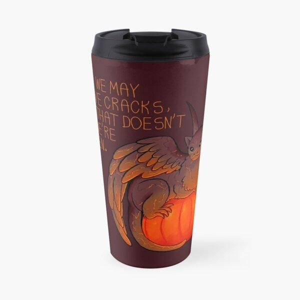 """""""We May Have Cracks"""" Pumpkin Gargoyle Travel Mug"""