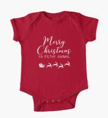 Merry Christmas ya filthy animal Short Sleeve Baby One-Piece