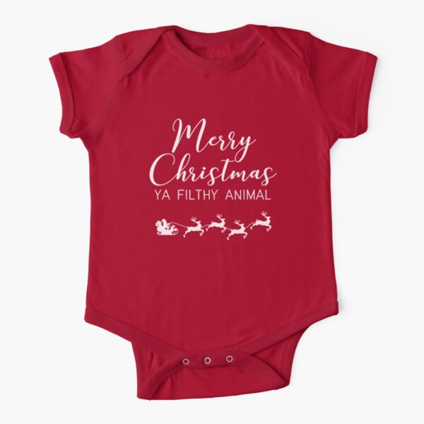 Merry Christmas ya filthy animal Short Sleeve Baby One-Piece