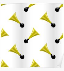 Horns Isolated on White Background. Musical Seamless Pattern Poster