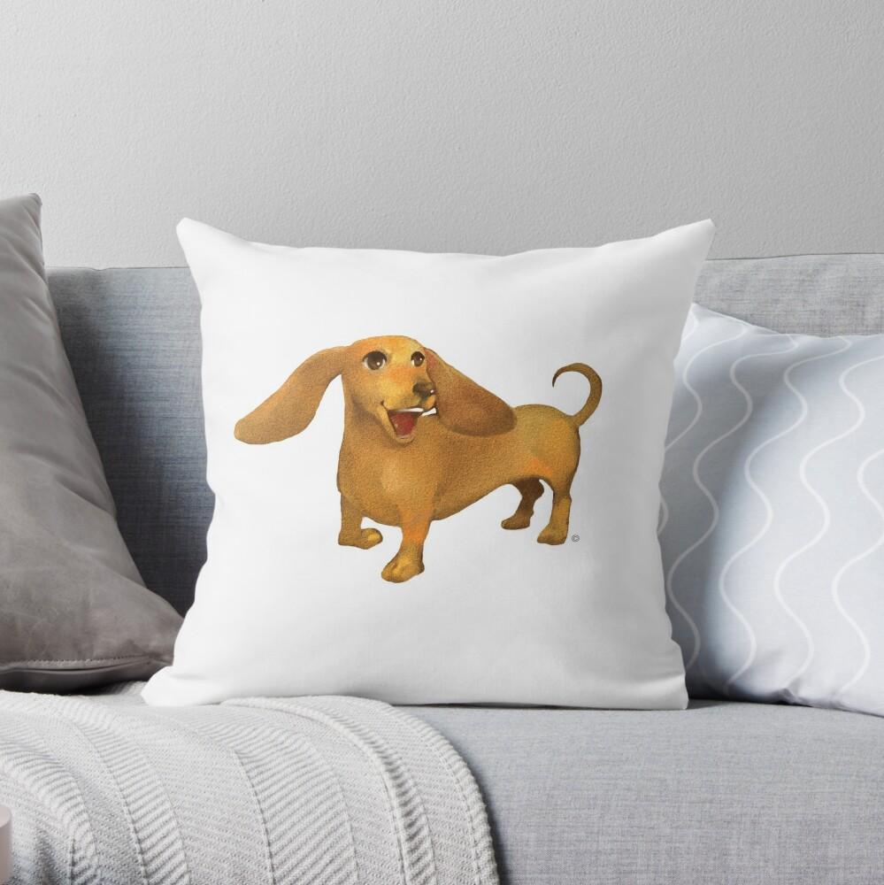 Jasper The Sled Dog Dachshund Throw Pillow