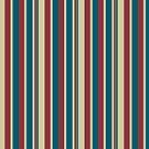 Chic Deep Red Moody Blue Beige Deckchair Stripes by Judy Adamson
