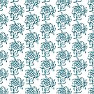 Ethnic Floral Mini-print Blue on White to Customize by Judy Adamson