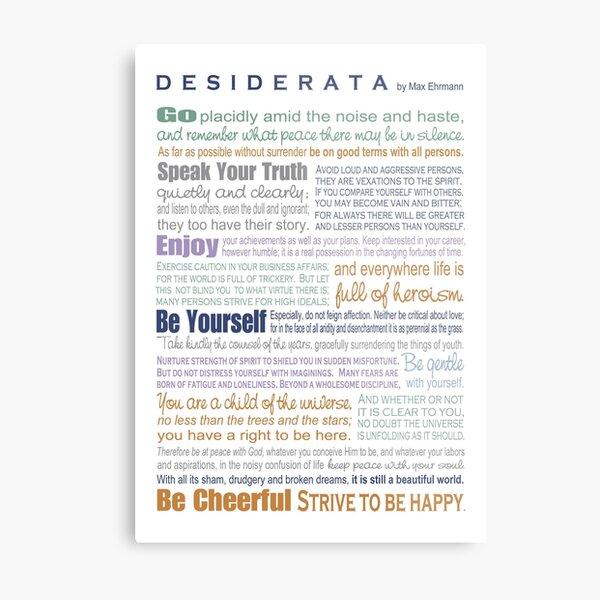 Desiderata - Multi-color Metal Print