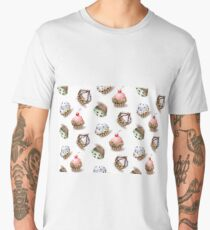 Delicious cupcakes and vector sprinkles muffin set isolated on white background. Men's Premium T-Shirt
