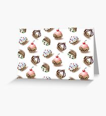 Delicious cupcakes and vector sprinkles muffin set isolated on white background. Greeting Card