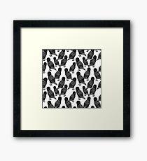 Linocut owl bird black and white minimal nursery pattern gifts birder  Framed Print