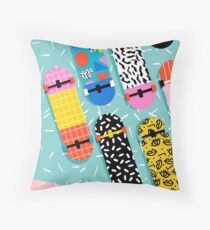 Omigod - 80s retro memphis skateboards pattern sports trendy 1980's vintage style retro Throw Pillow