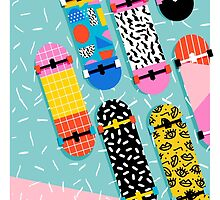 Omigod - 80s retro memphis skateboards pattern sports trendy 1980's vintage style retro by wackadesigns