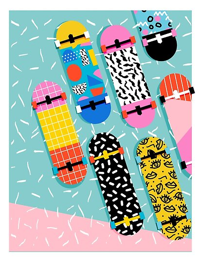 Trendy Poster Designs: 80s Retro Memphis Skateboards Pattern Sports