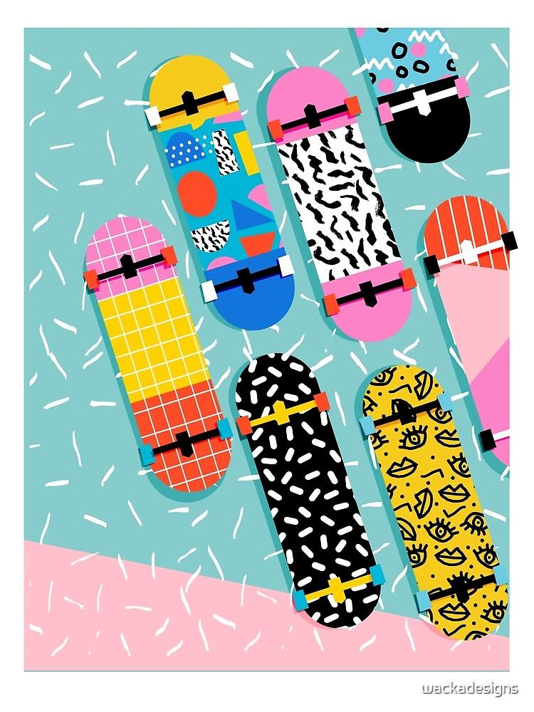 Omigod - 80s retro memphis skateboards pattern sports trendy 1980's vintage style retro by wackadesigns