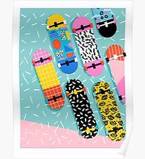 Omigod - 80s retro memphis skateboards pattern sports trendy 1980's vintage style retro Poster