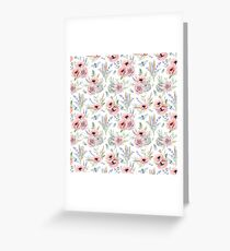 Cute Preppy Watercolour Flowers on White II Greeting Card