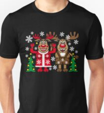 51 Deer Reindeer Rudolph with Mrs. Rudolphine Christmas Family Unisex T-Shirt