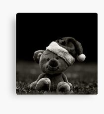 Teddy Bear with Santa Hat in Black and White Canvas Print