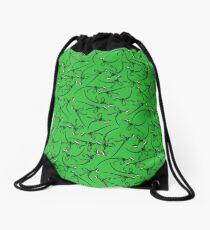 Merry Christmas Raptor - Black w/ Red Hat Drawstring Bag