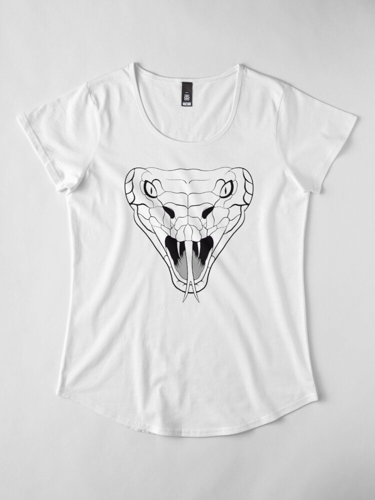 Alternate view of Snake head line-art Premium Scoop T-Shirt